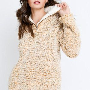 Love Tree Sherpa Fleece Pullover Mustard Large